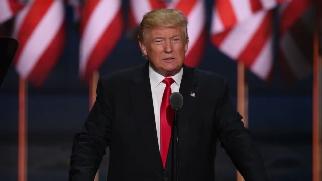 footage of donald trump speaking as he accepts the presidential candidacy nomination for the republican party at the republican national convention... - us republican party stock videos & royalty-free footage