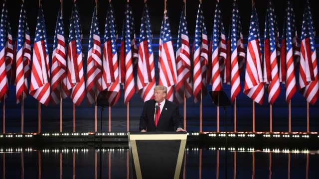 footage of donald trump speaking as he accepts the presidential candidacy nomination for the republican party at the republican national convention... - nomination stock videos & royalty-free footage