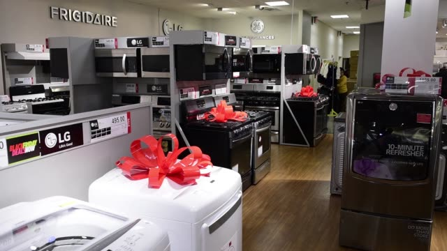 Footage of employees preparing for Black Friday at a JC Penney Co store in Queens NY on November 20 2017 Photographer Mark Kauzlarich Shots employee...