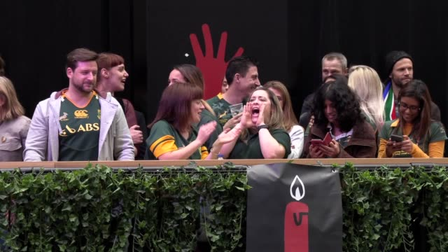 footage of england and south africa fans watching the match at boxpark in croydon. south africa beat england 32-12 in the world cup final in... - croydon england stock videos & royalty-free footage