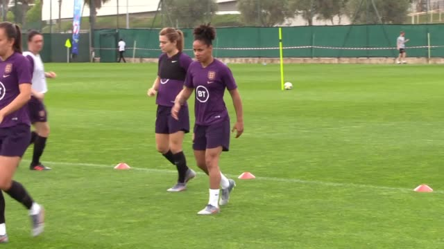 footage of england women training in nice on monday morning following sunday's 21 win over scotland at the women's world cup - practising stock videos & royalty-free footage