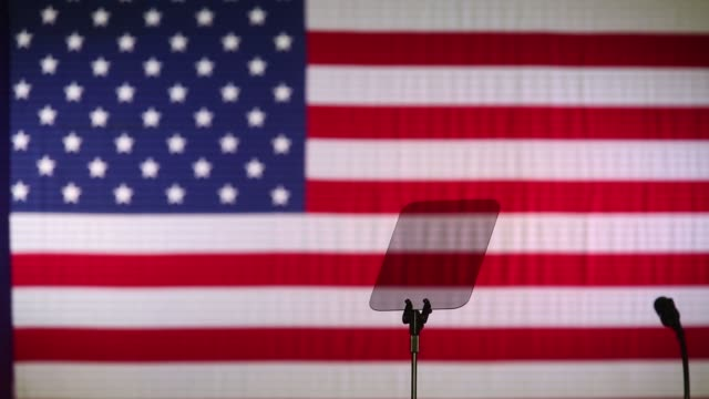 Footage of features of the stage before US President Donald Trump delivers remarks during an event in Indianapolis Indiana US on Wednesday Sept 27...