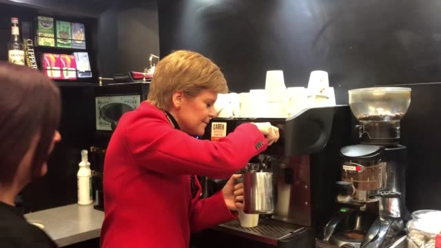 footage of first minister nicola sturgeon making a coffee at inchgarth community centre in aberdeen south - scottish national party stock videos & royalty-free footage