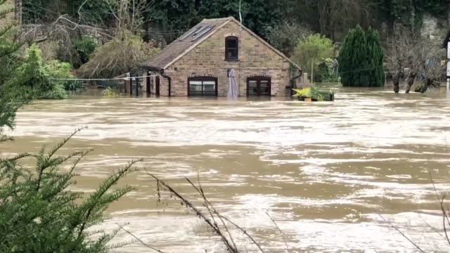 footage of flooded homes and flood defences in ironbridge shropshire on tuesday as the environment agency warned that defences may be overtopped in... - record breaking stock videos & royalty-free footage