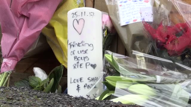 Footage of floral tributes and police continuing their investigations following a fatal crash in Meanwood Leeds which saw five males killed The crash...