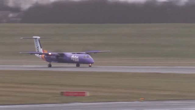 footage of flybe aircraft amid speculation the airline is facing collapse flybe bosses have held crunch talks with the government in a bid to save... - wealth stock videos & royalty-free footage