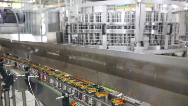 footage of fresh peas and carrots being placed into cans at a del monte foods inc plant in mendota illinois us on friday june 23 2017 shots cu of... - carota video stock e b–roll