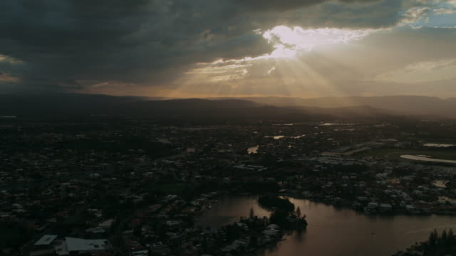 4K Footage of Gold Coast during sunset from an elevated point of view, facing north