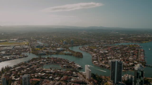 4K Footage of Gold Coast from an elevated point of view, facing north