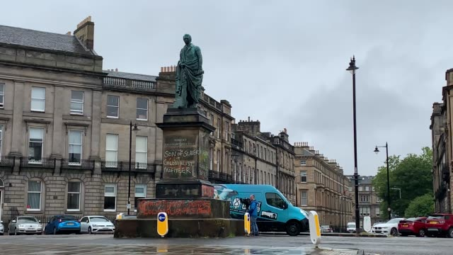 footage of graffiti on a statue of robert viscount melville in edinburgh following a raft of black lives matter protests took place across the uk... - statue stock videos & royalty-free footage
