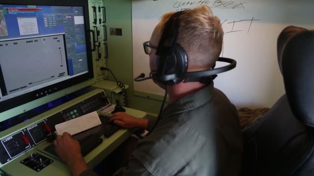 footage of ground control station as u.s. marines with marine unmanned aerial vehicle squadron 3, launch a rq-7 b shadow unmanned aerial vehicle... - control room stock videos & royalty-free footage