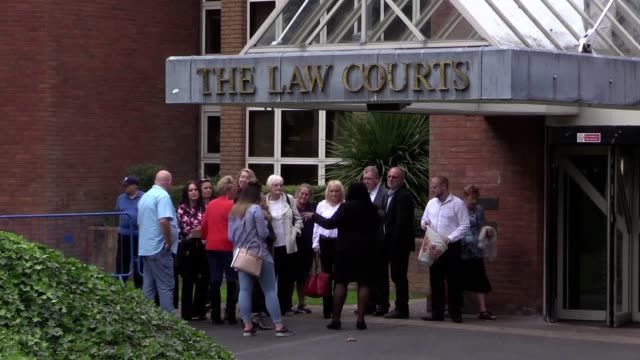 Footage of Hillsborough victims friends and family leaving Warrington Combined Court followed by defendants Graham Mackrell Sir Norman Bettison...