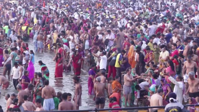 Footage of Hindu pilgrims bathing in the Godavari river in Nashik Maharashtra India on Friday Sept 11 2015 Shots various shots of Hindu pilgrims bath...