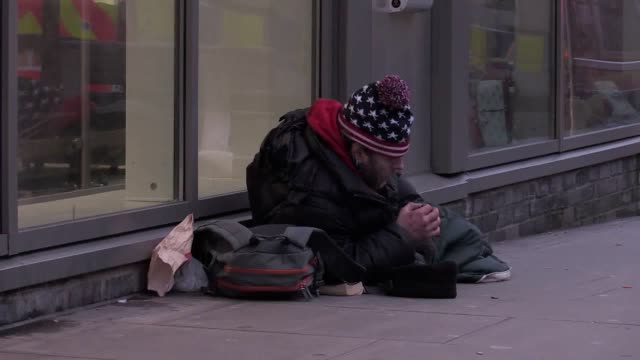 Footage of homeless people on the streets of Brighton as a cold spell sweeps across the UK