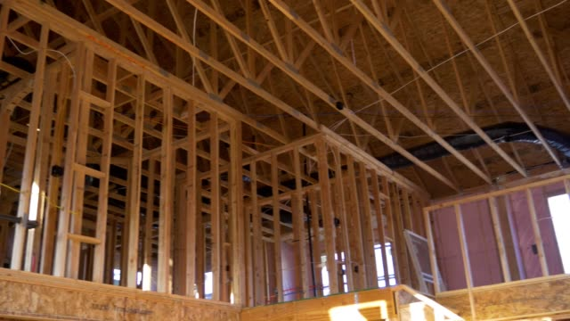 4k footage of house construction framing - townhouse stock videos & royalty-free footage