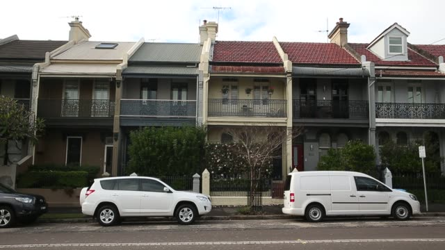 footage of houses, apartments, and other residences as well as realtor companies in sydney, australia on june 18, 2015. shots: wide shot of homes... - terraced house stock videos & royalty-free footage