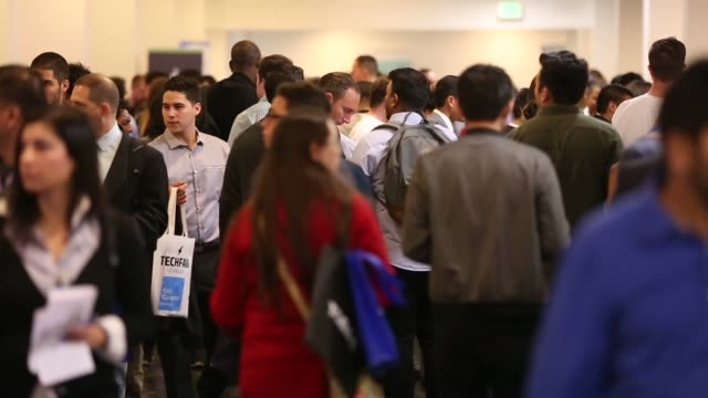 footage of job seekers during the techfair la job fair in los angeles california us on thursday jan 26 2017 shots shot of people stanading in line... - unemployment application stock videos & royalty-free footage