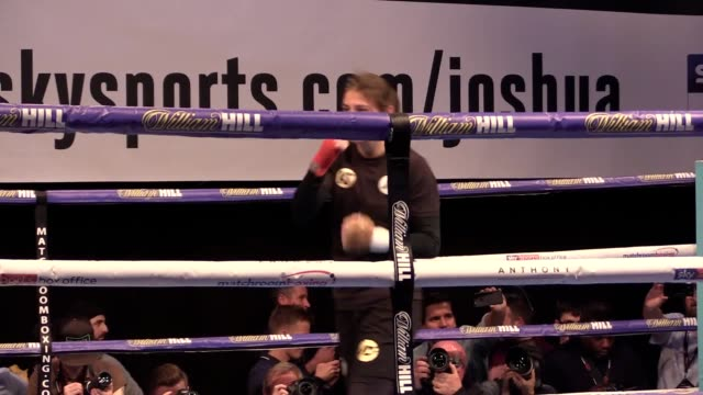 Footage of Katie Taylor working out ahead of her WBA female lightweight title against Anahi Sanchez on the undercard of Anthony Joshua's bout with...