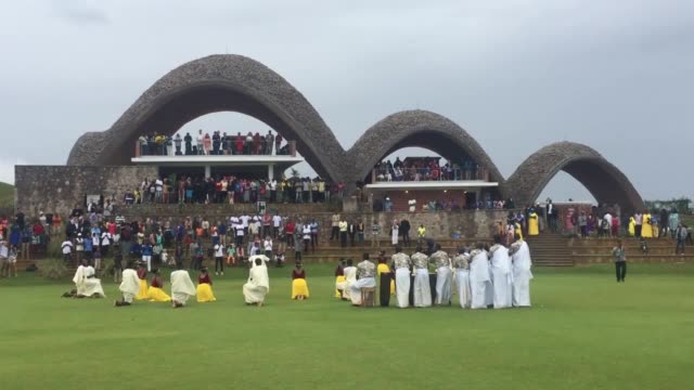 Footage of Kicukiro Oval Stadium before and after the works of traditional Rwandan dancers and musicians at the opening ceremony of the cricketers...