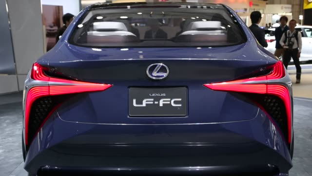 footage of lexus vehicles on display at the tokyo motor show in tokyo, japan, on thursday, october 29, 2015 shots several exterior shots of the lf-fc... - rx stock videos & royalty-free footage