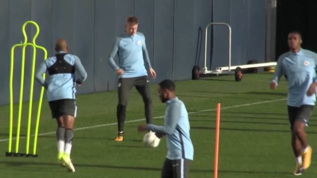 Footage of Manchester City training ahead of their Champions League group game against Napoli Sergio Aguero was among the players put through his...