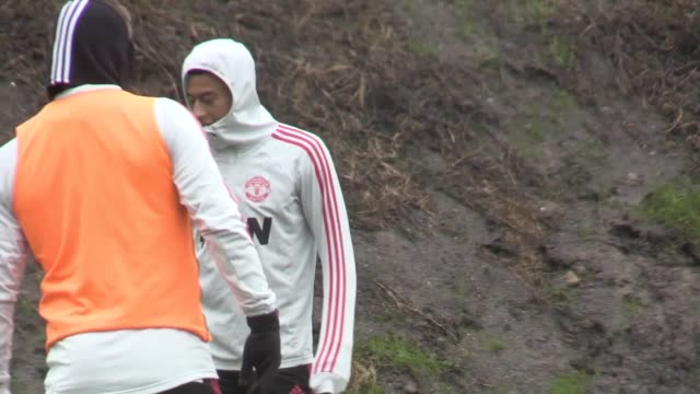 Footage of Manchester United training at Carrington ahead of their game against Brighton Includes footage of caretaker manager Ole Gunnar Solskjaer...