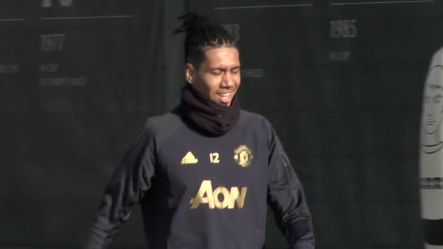 Footage of Manchester United training at Carrington ahead of their Champions League knockout game against Paris St Germain