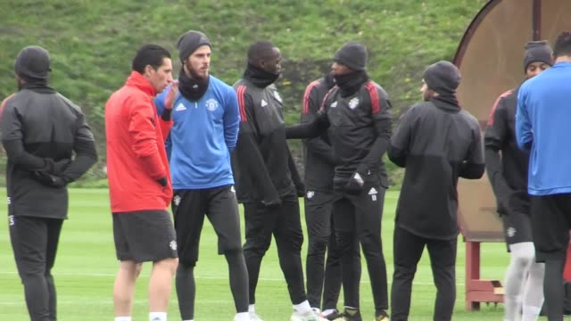 Footage of Manchester United training at Carrington ahead of their Champions League game away to Basle Featured players include Ibrahimovic Pogba...