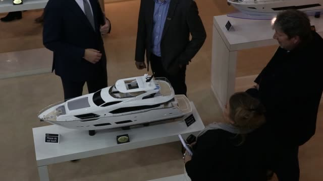 Footage of many luxury boats and yachts on display at the 2016 London Boat Show at the ExCel exhibition centre in London UK on Friday Jan 8 2016...