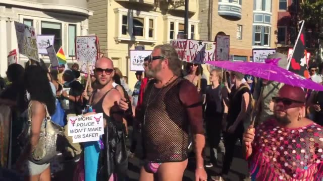 Footage of marchers at San Francisco's Trans March om June 24 2016 Security at the march was heavy