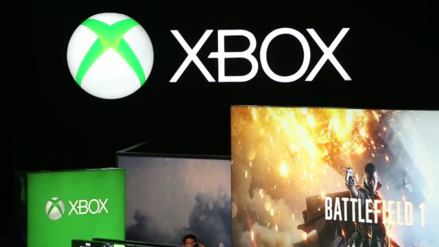 Footage of Microsofts Xbox and video games as attendees of E3 play at the Los Angeles Convention Center in Los Angeles CA on June 15 2016 Shots wide...