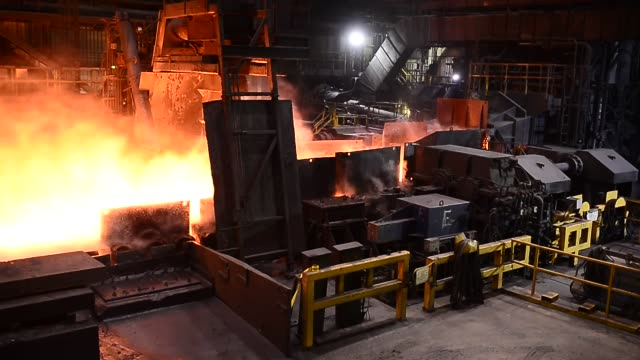 footage of molten steel at the dofasco steel plant in hamilton, ontario, canada on january 13, 2017. shots: footage of general production and... - steel stock videos & royalty-free footage