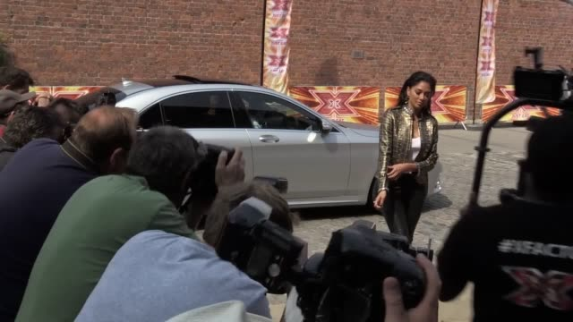 footage of nicole scherzinger arriving for the opening day of auditions for x factor 2017 followed by an interview - nicole scherzinger stock videos and b-roll footage