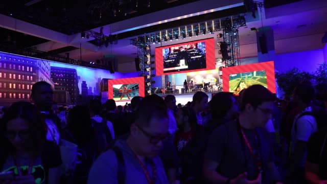 footage of nintendo booth during the electronic entertainment expo at the los angeles convention center in los angeles ca on june 14 2017 shots shot... - trade show stock videos & royalty-free footage