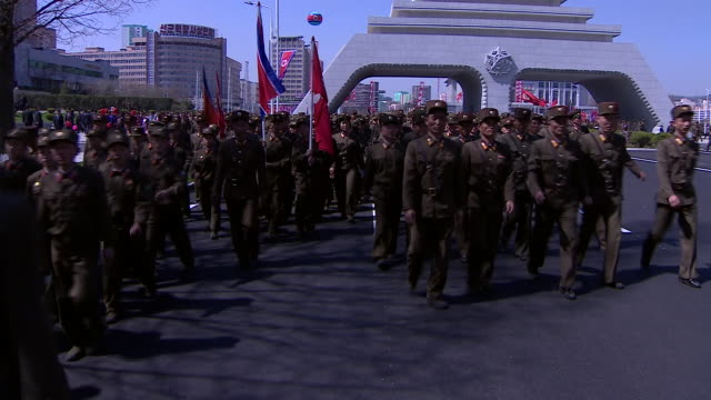 footage of north korean soldiers in the countries capital pyongyang - military parade stock videos and b-roll footage