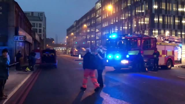 footage of nottinghamshire fire and rescue services attending the scene at nottingham station - nottinghamshire stock videos & royalty-free footage