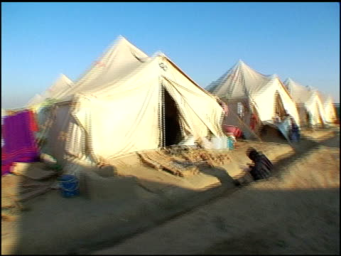 Footage of post earthquake refugee tents in Islamabad Pakistan Tracking Shot