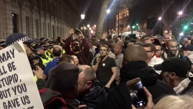 footage of probrexit supporters turning on a channel 4 crew outside downing street - 2016 european union referendum stock videos & royalty-free footage