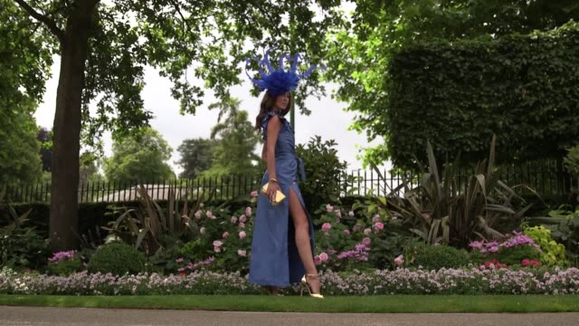 Footage of racegoer arrivals and fashion on Ladies Day at Royal Ascot