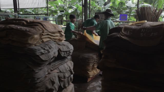 Footage of rubber sheets being processed at the Thai Hua Rubber Pcl factory in Samnuktong Rayong province Thailand on Tuesday October 27 2015 Shots...