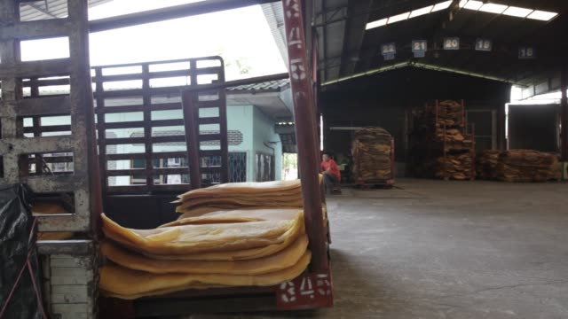 vídeos de stock, filmes e b-roll de footage of rubber sheets being processed at the thai hua rubber pcl factory in samnuktong rayong province thailand on tuesday october 27 2015 shots... - borracha material