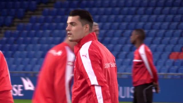 Footage of Swiss players in passing drills and goalkeeper training Shots of Granit Xhaka Xherdan Shaqiri and manager Vladimir Petković