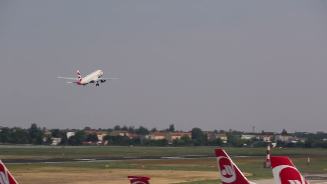 footage of tegel airport operated by flughafen berlin brandenburg gmbh in berlin germany on august 9 2015 shots cu of plane's front window with... - flughafen stock videos & royalty-free footage