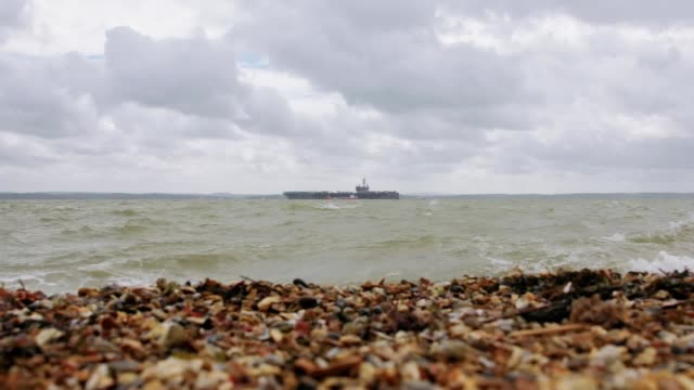 footage of the 100000 tonne aircraft carrier uss george hw bush anchored off the coast of gosport in stokes bay - gosport stock videos & royalty-free footage