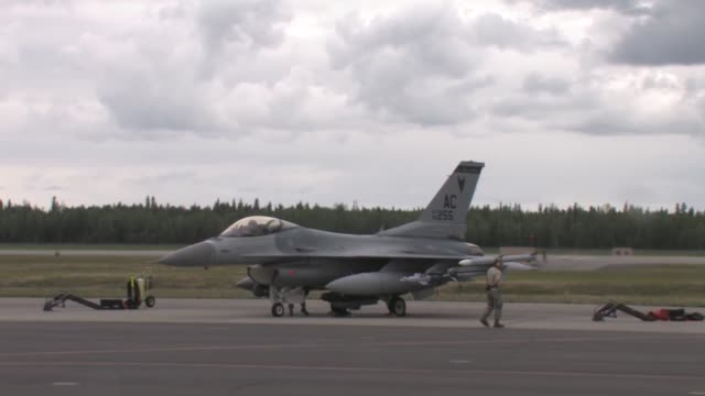 Footage of the 177th Fighter Wing NJANG Red Flag Alaska 112 June 2011 Flight line operations and take offs featuring F16C/D F15C F15E Strike Eagle...