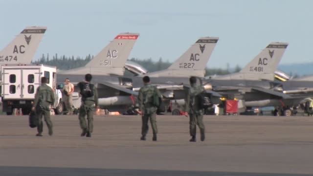 footage of the 177th fighter wing njang red flag alaska 112 june 2011 flight line operations and take offs featuring f16c/d f15c f15e strike eagle... - japan self defense forces stock videos and b-roll footage