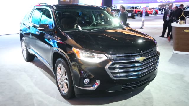 footage of the 2018 chevrolet traverse during the 2017 north american international auto show in detroit michigan us on tuesday jan 10 2017 shots... - maroon stock videos and b-roll footage