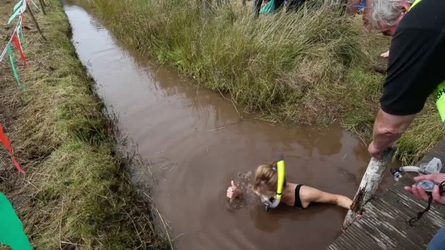 footage of the 32nd world bog snorkelling championships, which took place at waen rhydd peat bog in llanwrtyd wells, wales. - bog stock videos & royalty-free footage