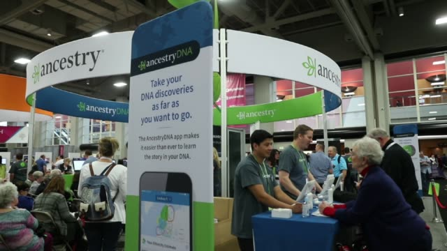 Footage of the Ancestrycom booth at the 2017 RootsTech Conference in Salt Lake City UT on February 9 2017 Shots wide shot of ancestry booth with...