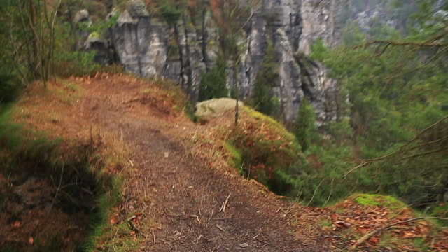 Footage of the beautiful Saxon National Park in Germany from viewpoint with stunning views of the rock formations with vertigo and adrenaline sensation.